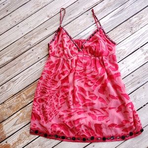 Nicole Miller Red Embellished Camisole Top Sz 12